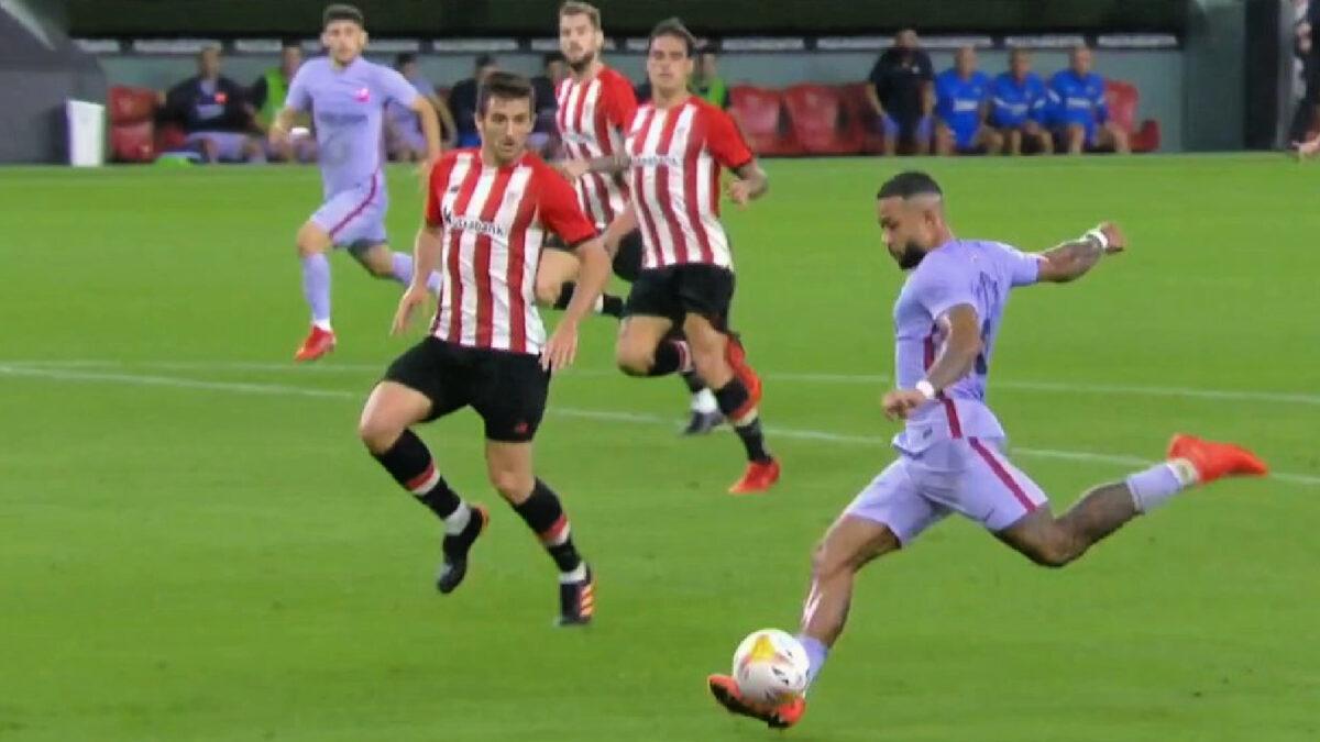 Memphis Depay in his stride before hammering away Barcelona's equaliser against Athletic Bilbao