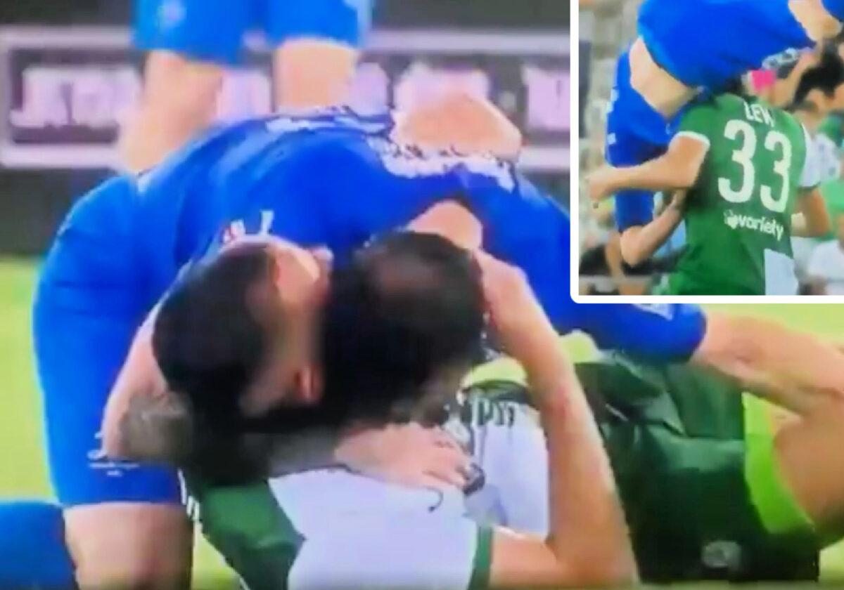Nodar Kavtaradze thanks Maor Levy for saving him from a possible head injury