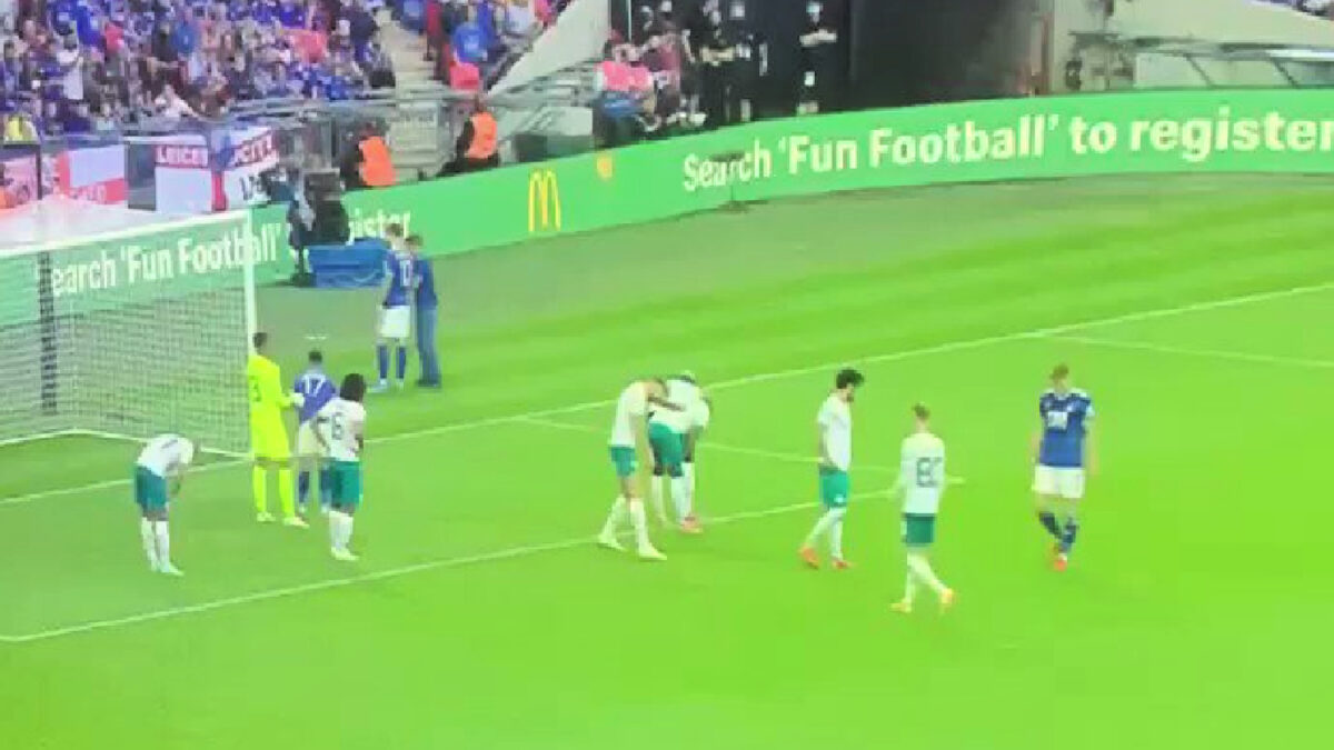 James Maddison obliges after fan runs on field to get selfie during Community Shield