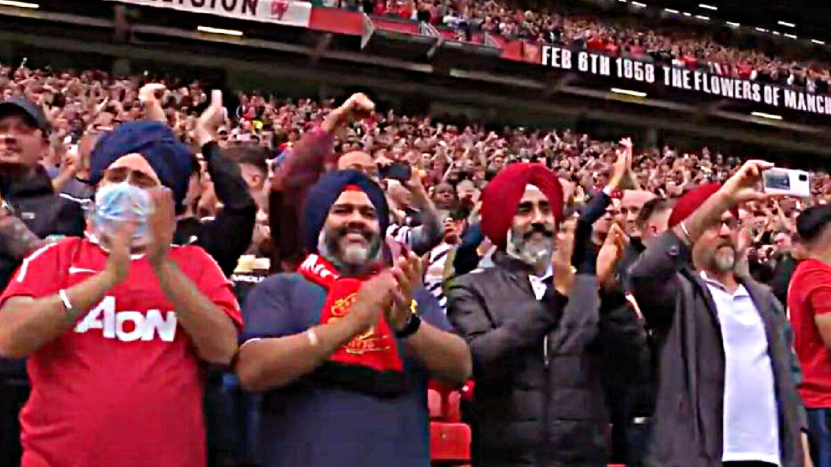 The 'Old Trafford Sikhs' made a comeback during Manchester United's 5-1 win against Leeds United