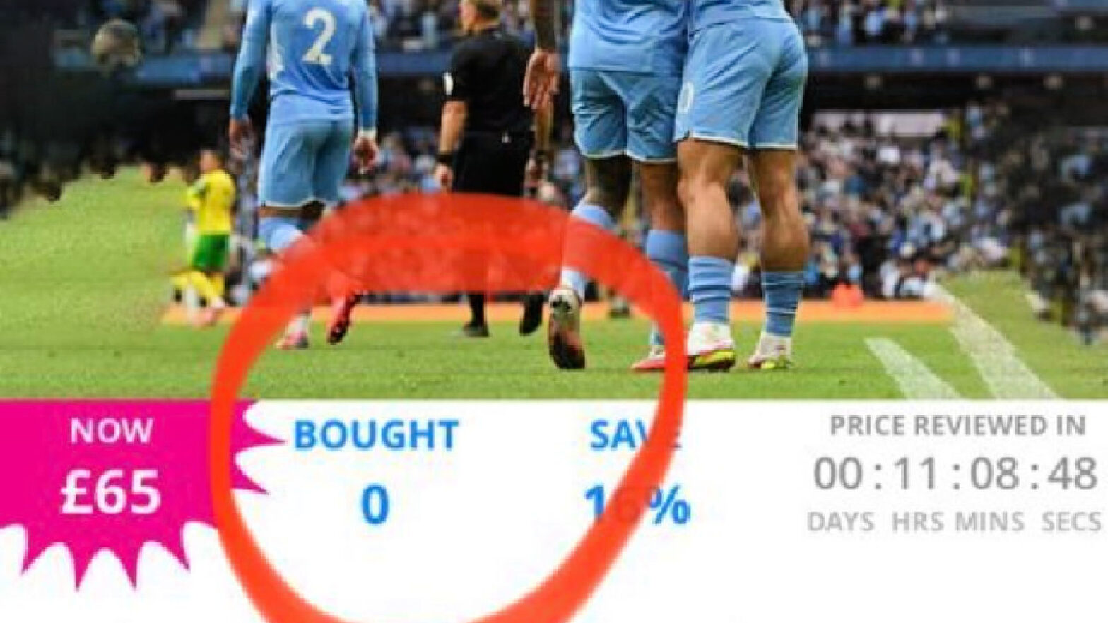 A screenshot of Manchester City selling Champions League tickets on Wowcher