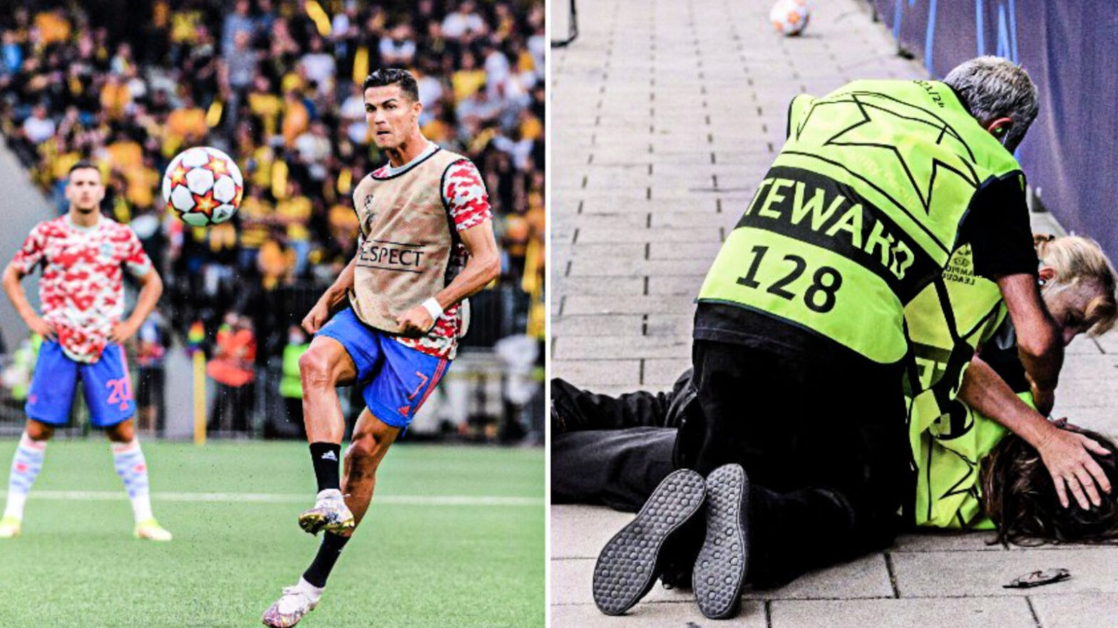 A steward got hit by a shot from Ronaldo in the warm-up, and Ronaldo gave her a shirt to make up for it