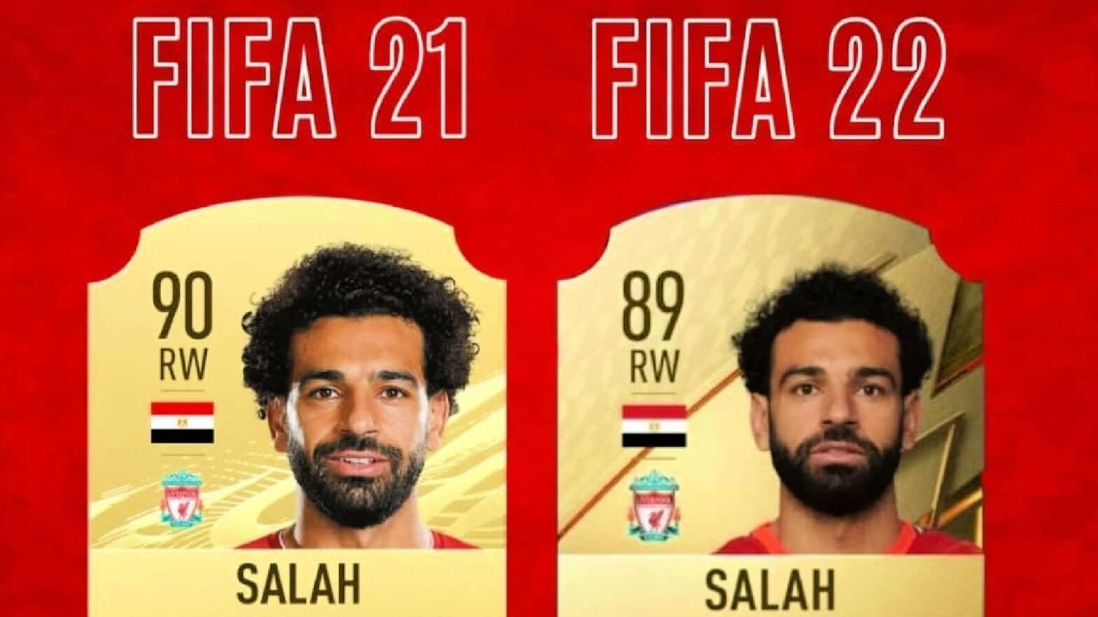 Mohamed Salah with a downgrade in FIFA 22