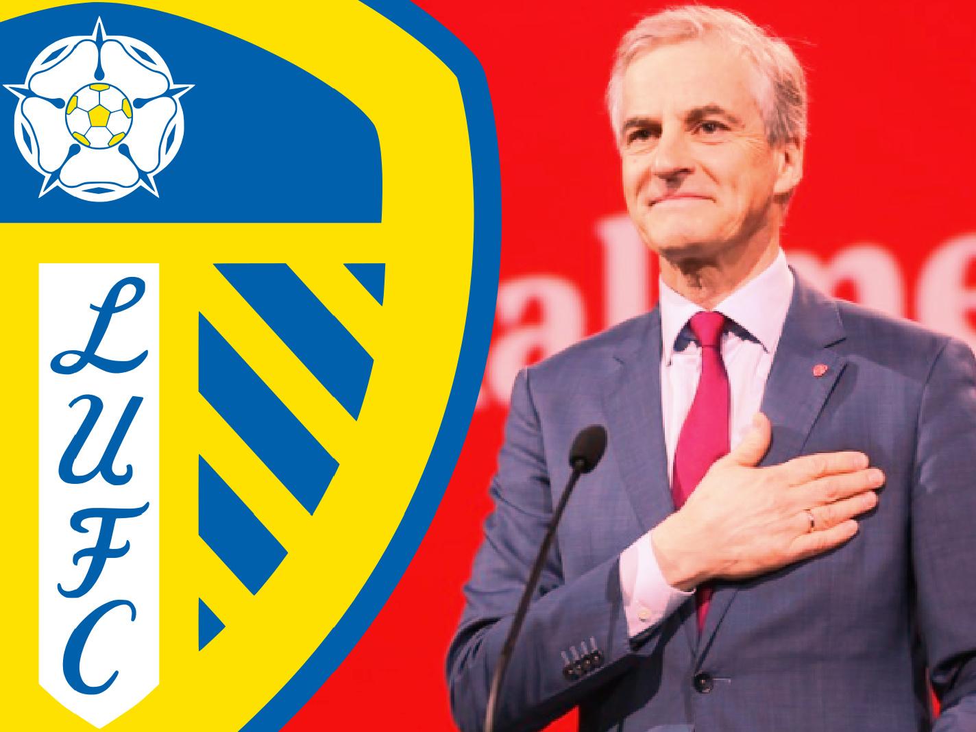 Leeds United logo along with a photo of Jonas Gahr Støre