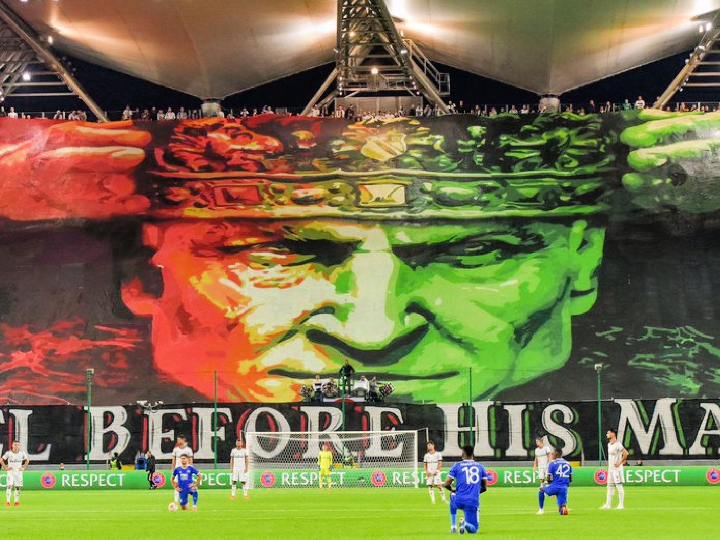 Legia Warsaw tifo v Leicester City