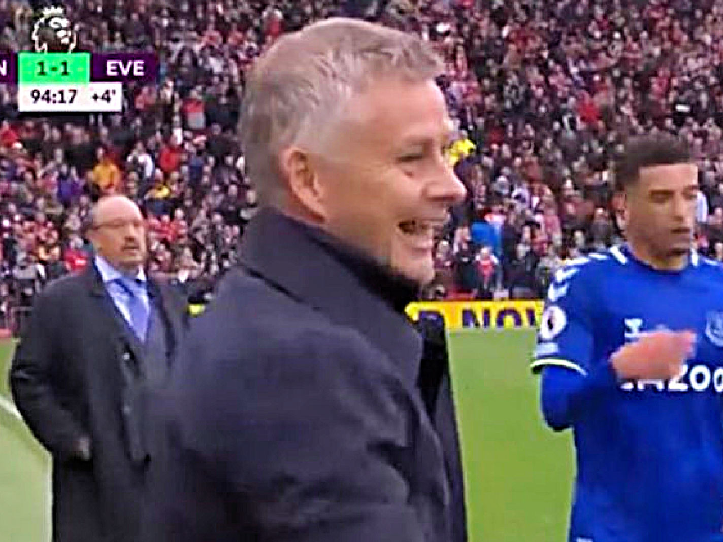 Solskjaer caught smiling in the 94th minute of Everton draw